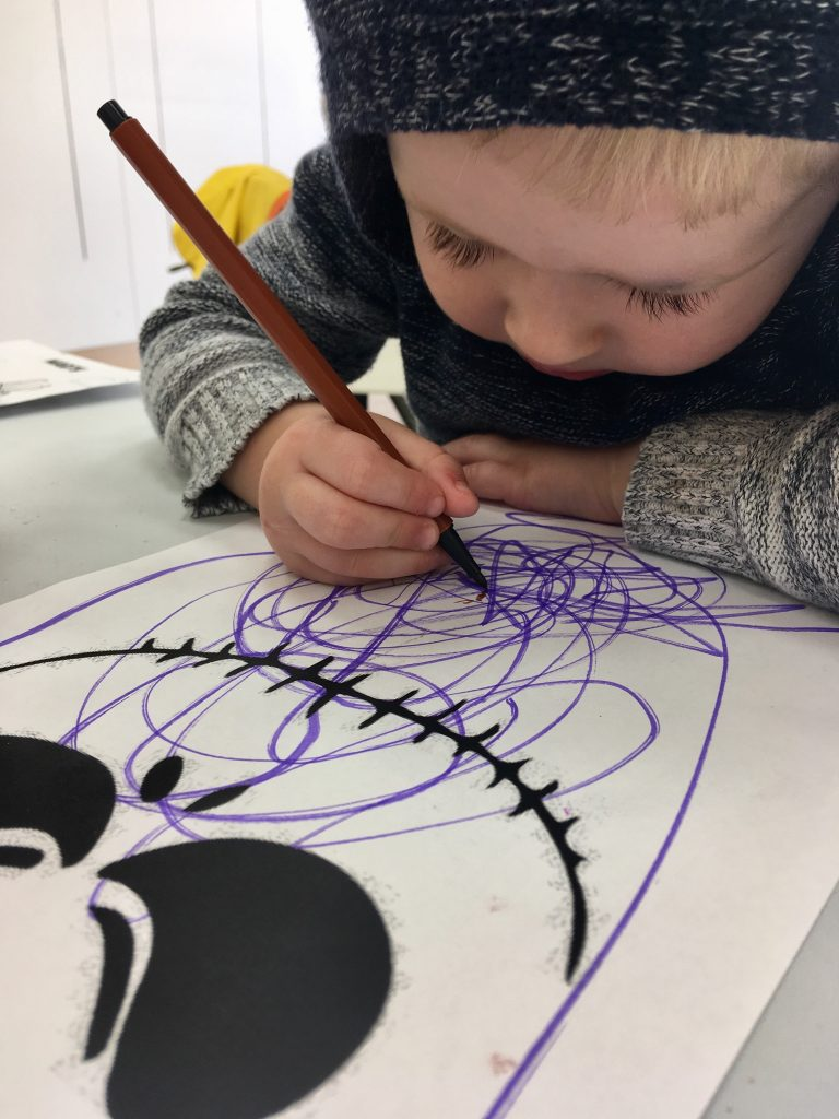 Affinity Lancashire Lucas is drawing a skeleton