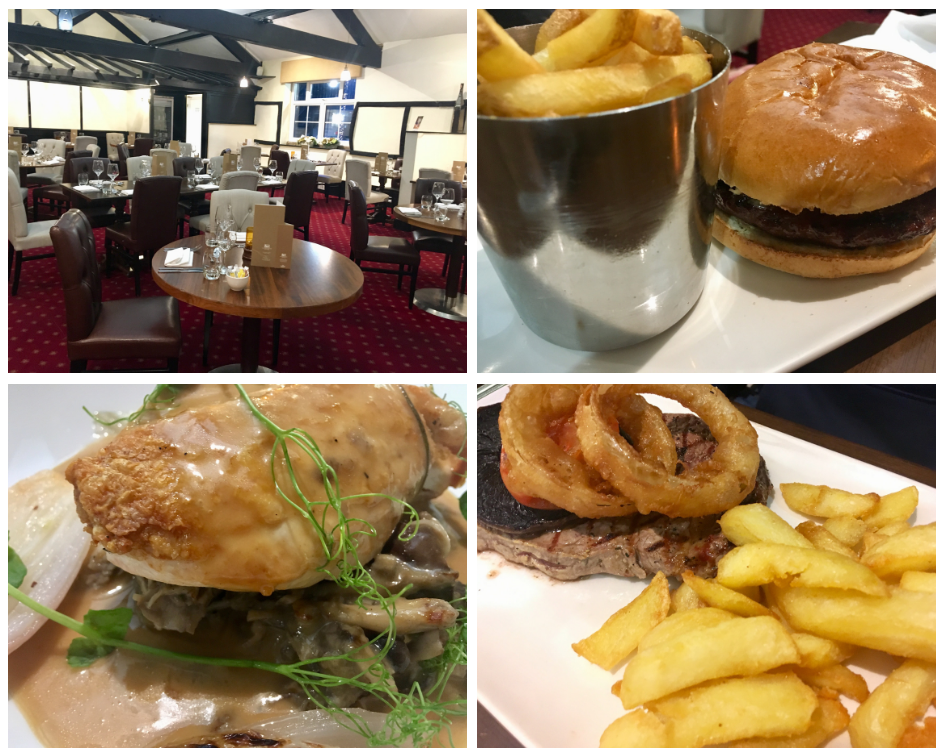 Last drop village, Bolton review A collage of restaurant and food photos
