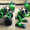 Rusty Rivets Botasaur review A collage of two photos, one Botasaur with wheel, one with feet