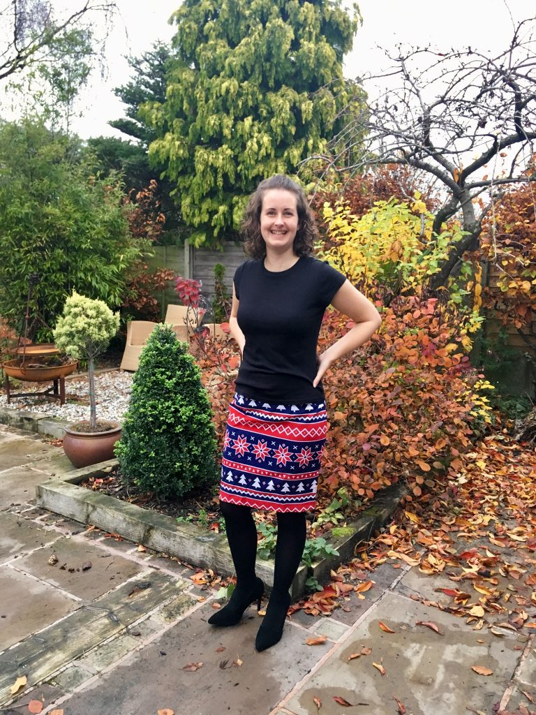 OppoSuits review I'm stood in garden without the jacket on but with black Tshirt, tights and heels