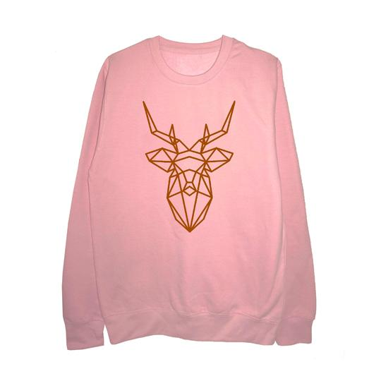 Women's gift ideas pink jumper with gold reindeer head