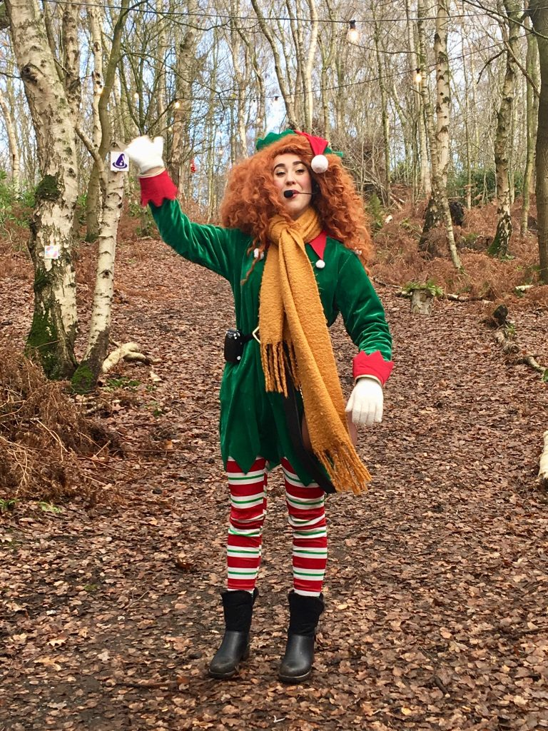 Blakemere Village, Christmas woodland review. An elf stood in the woods