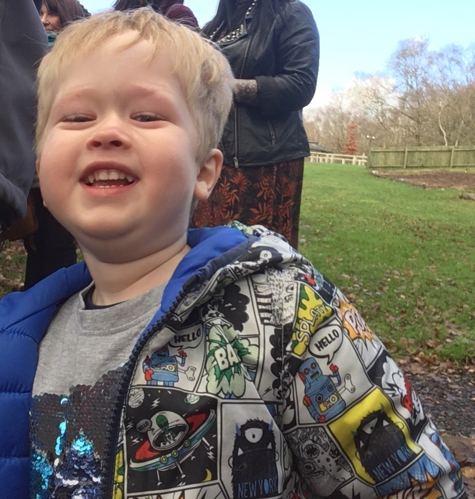 Blakemere Village, Christmas woodland review. Lucas smiling at the camera