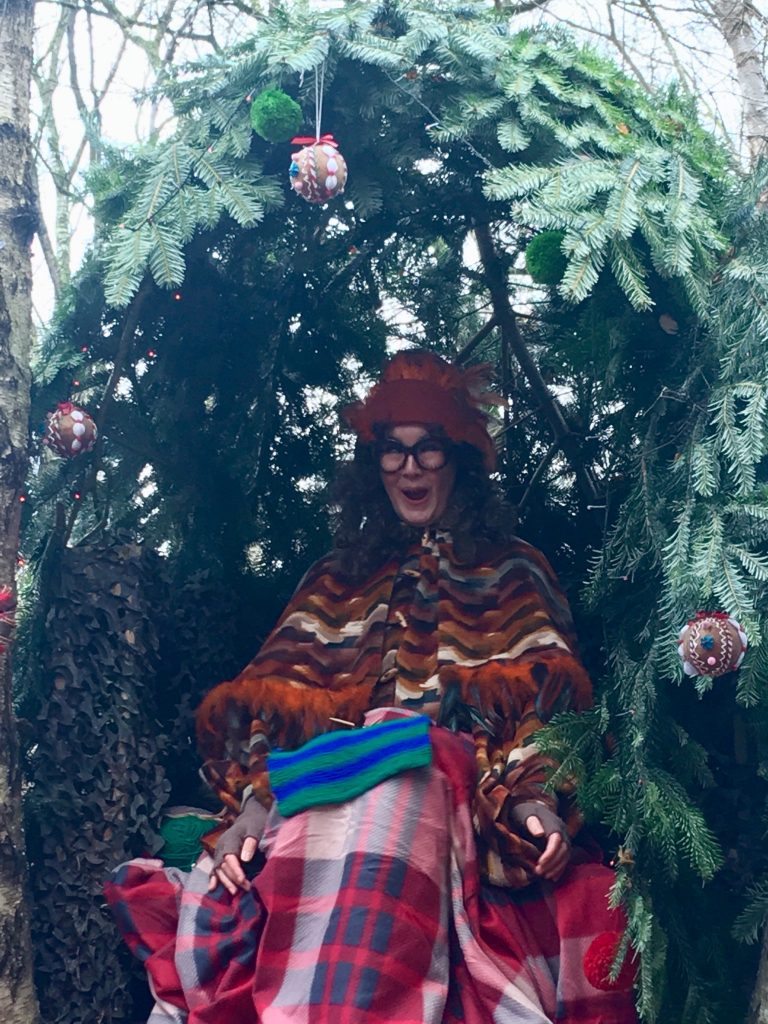 Blakemere Village, Christmas woodland review. Melody the owl up in a tree