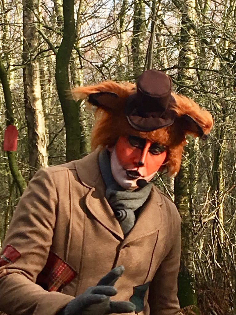 Blakemere Village, Christmas woodland review. A close up of Wiley the Fox