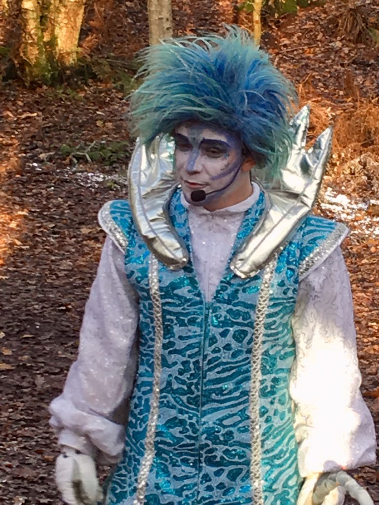 Blakemere Village, Christmas woodland review. Jack Frost dressed in blue and white