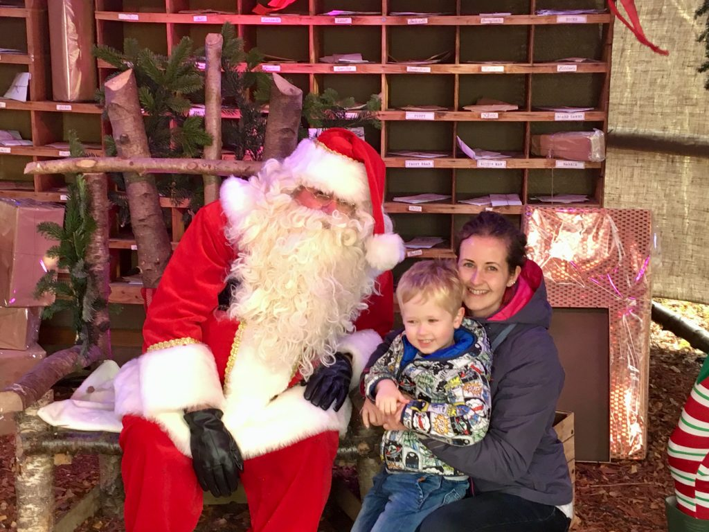 Blakemere Village, Christmas woodland review. Father Christmas l, Lucas and I sat in Santa's post office