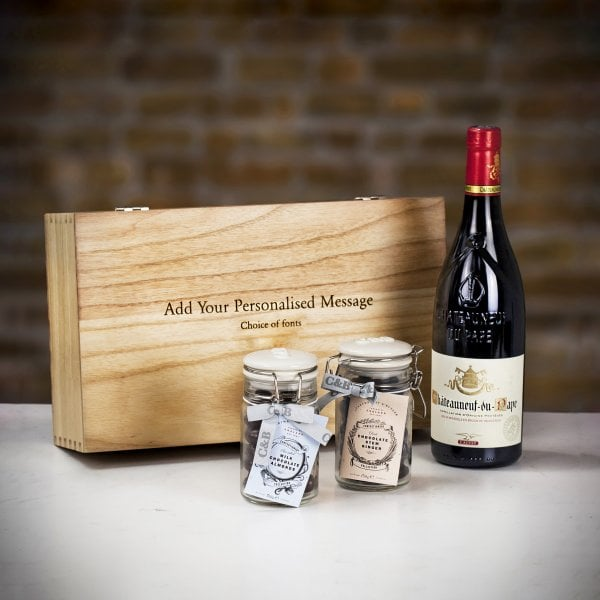 valentines gift reed wine and 2 jars of chocolates in frfont of personalise wooden box