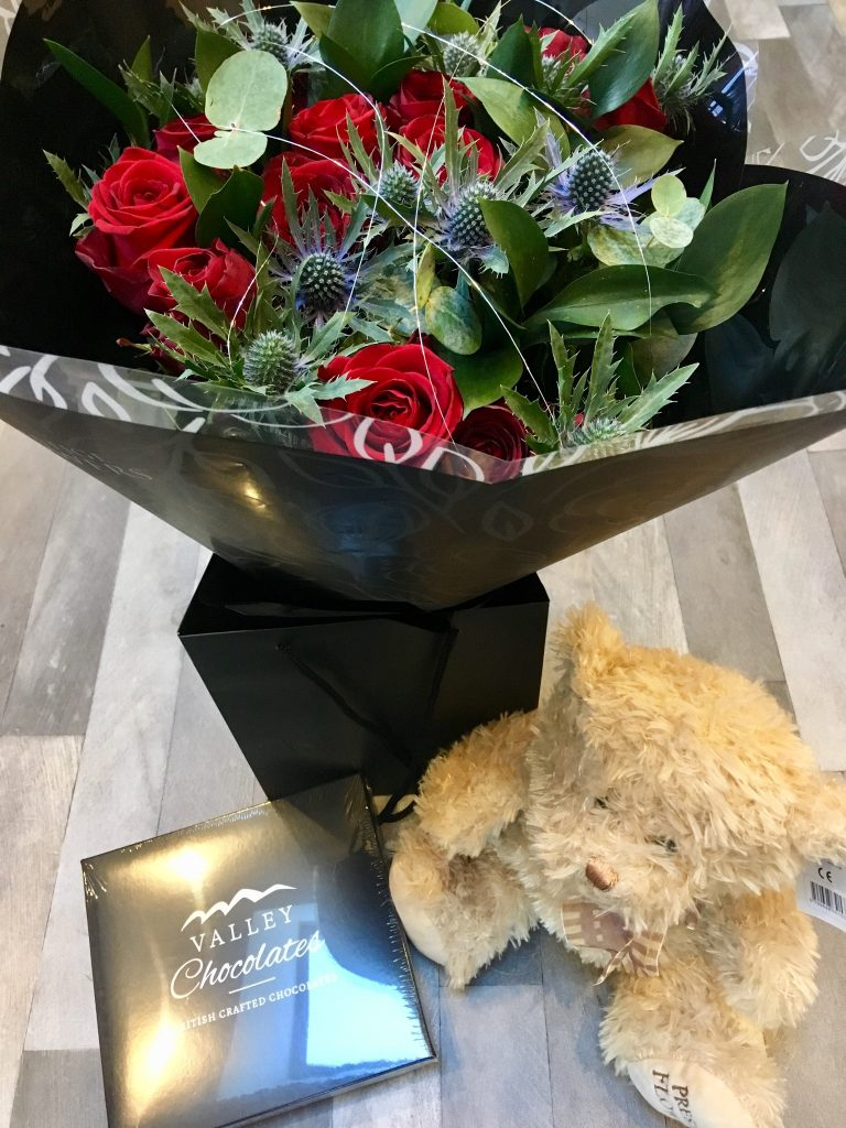Prestige Flowers Valentine's review The bouquet chocolates and teddy