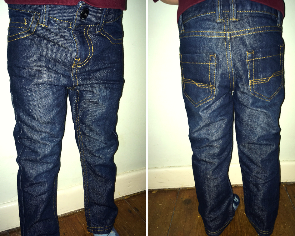 Vertbaudet jeans from front and back