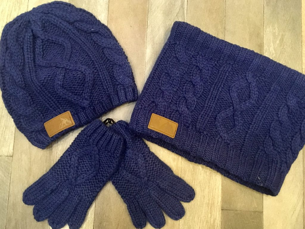 Vertbaudet navy cable knit hat snood and gloves