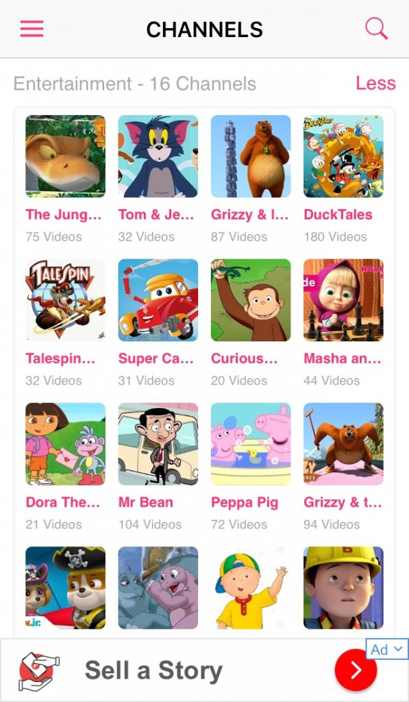 MooTV Kids app review A screenshot of the various channels