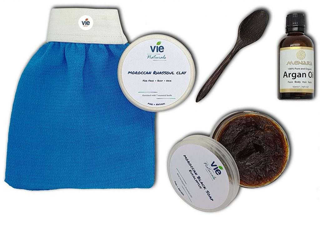 mothers day gift ideas blue exfoliating love, wooden spoon, bottle and two round tubs