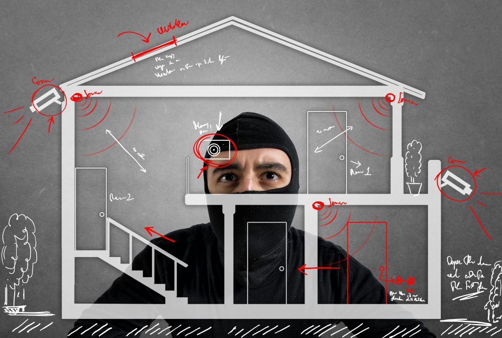 7 Things to Consider Before Buying a Home Security System. Photo of Thief apartment studying security system of a new house