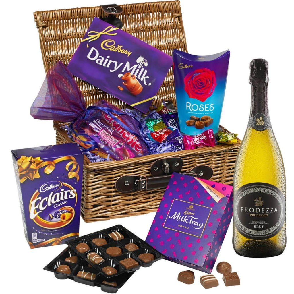 Mother's Day gift ideas hamper of cadburys chocolates and prosecco