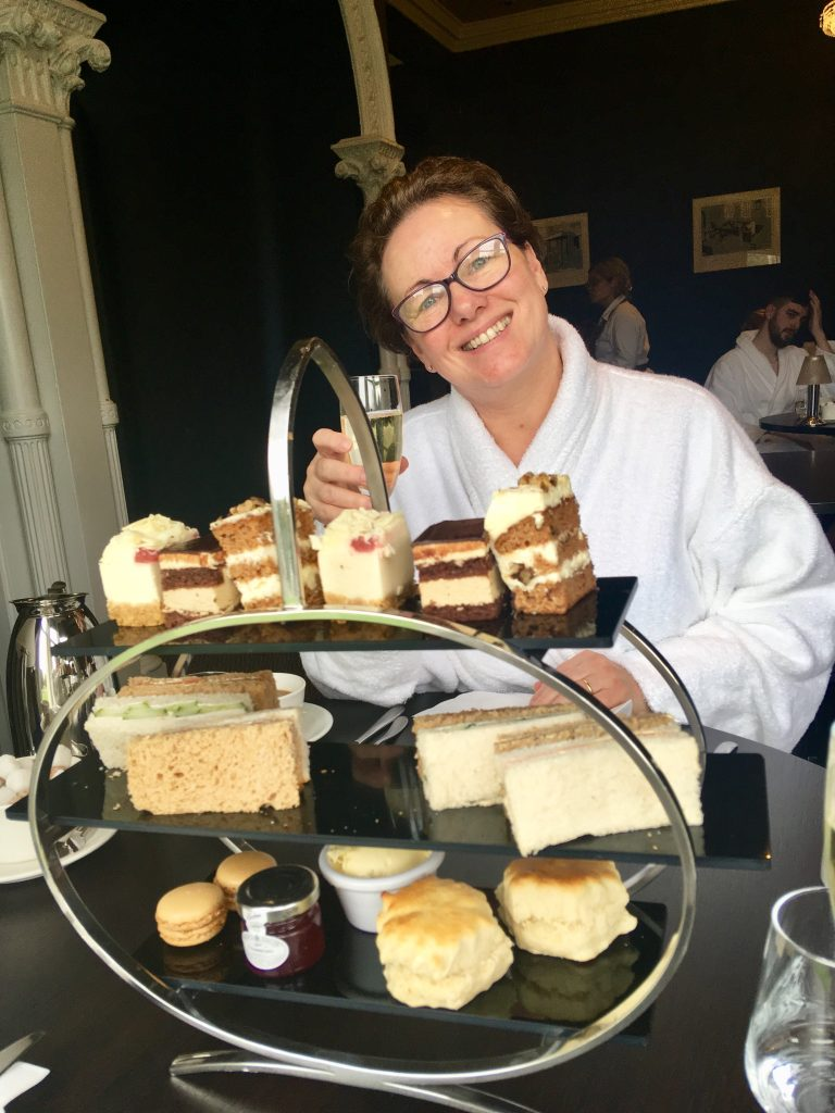 The Club and Spa Chester my mum is day with afternoon tea drinking Prosecco