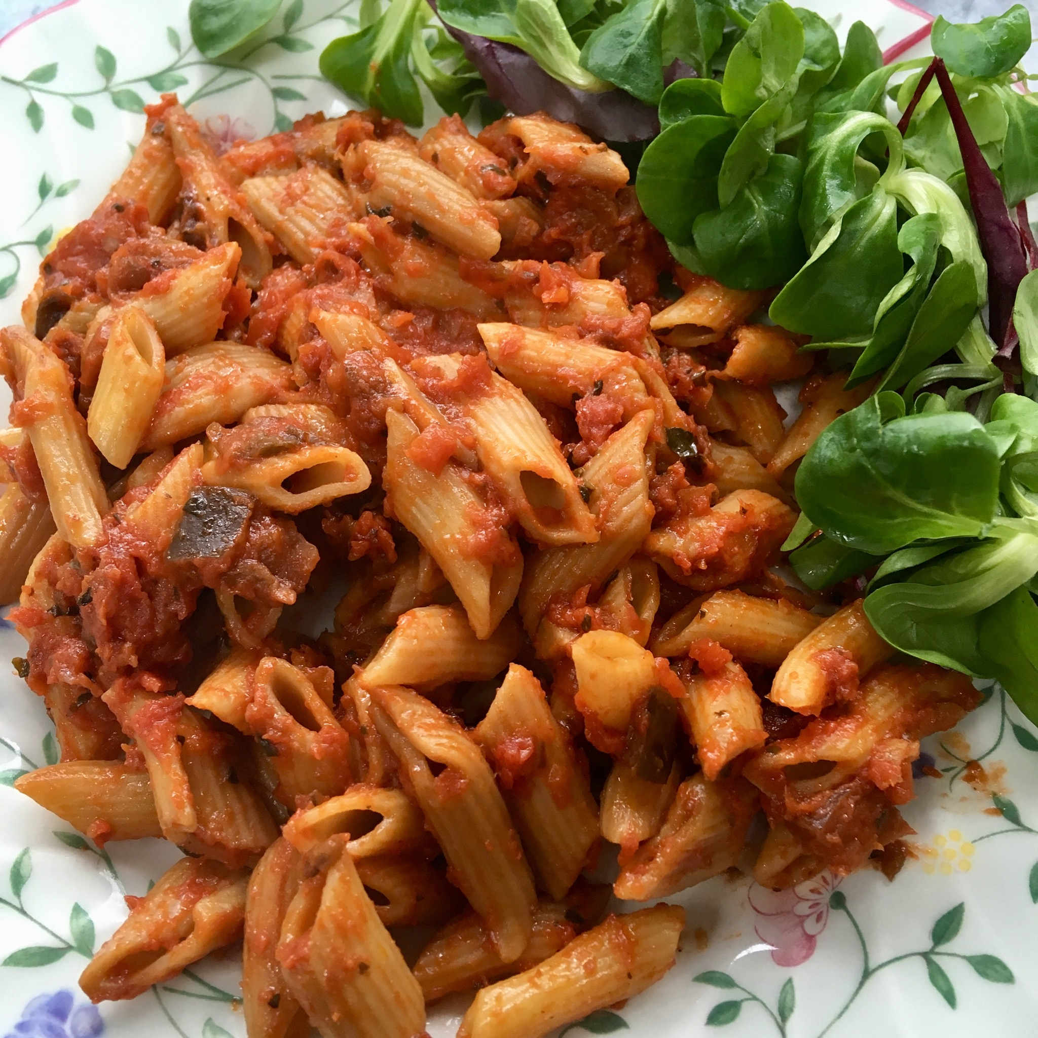 DietBon veg pasta with a side salad