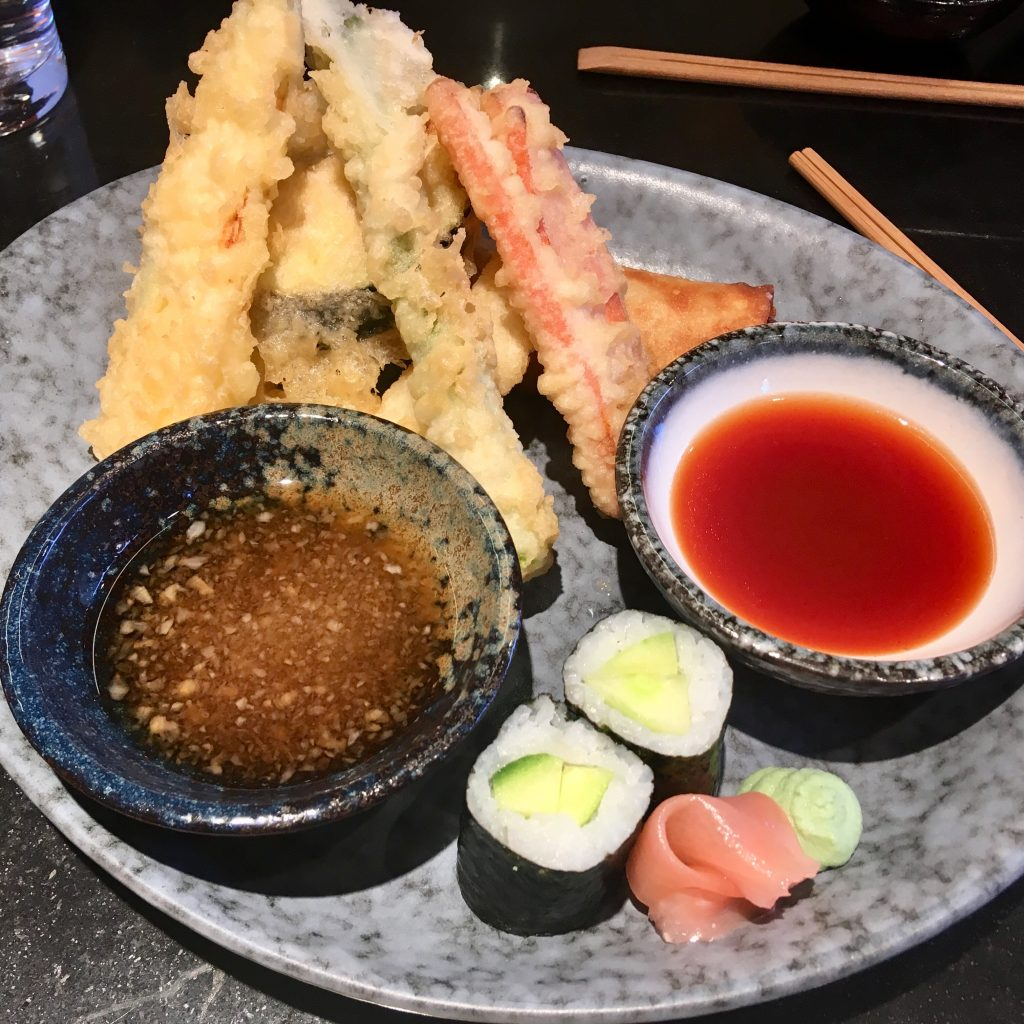 Sapporo Teppanyaki Manchester review. The veg tempura and spring roll next to bowls of dips