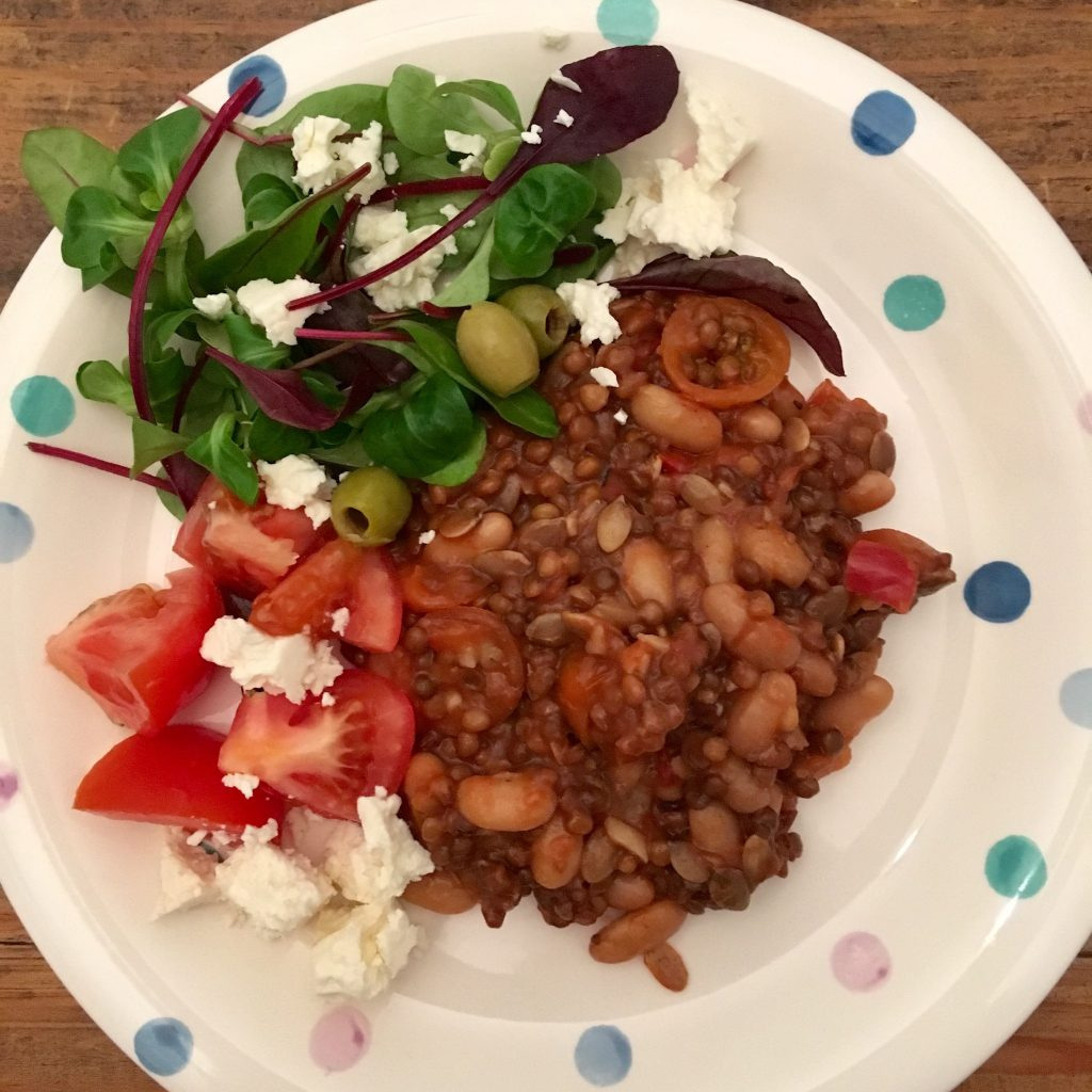 DietBon meal of lentils and veg with a side salad