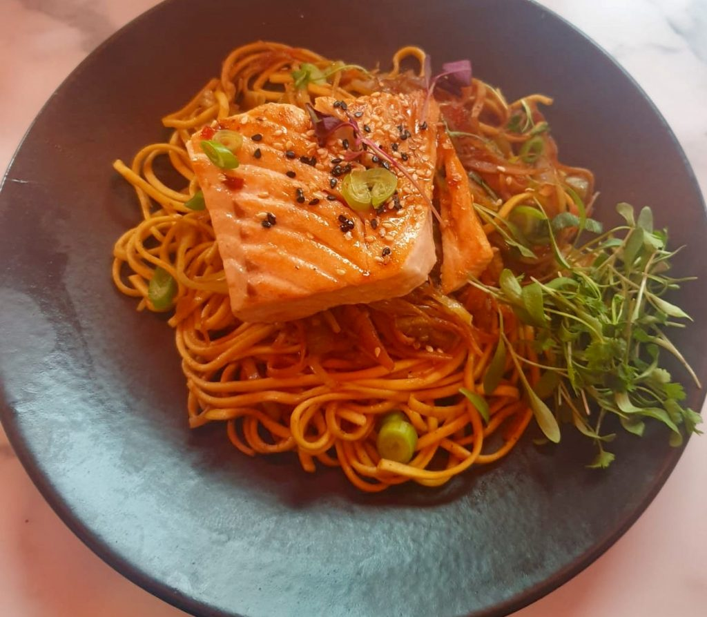 Liberté liverpool noodles with salmon on top