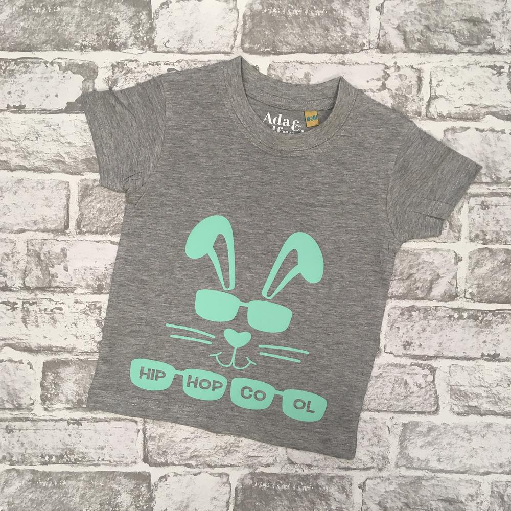 easter gift ideas ada and a;fred bunny tshirt in grey with green rabbit