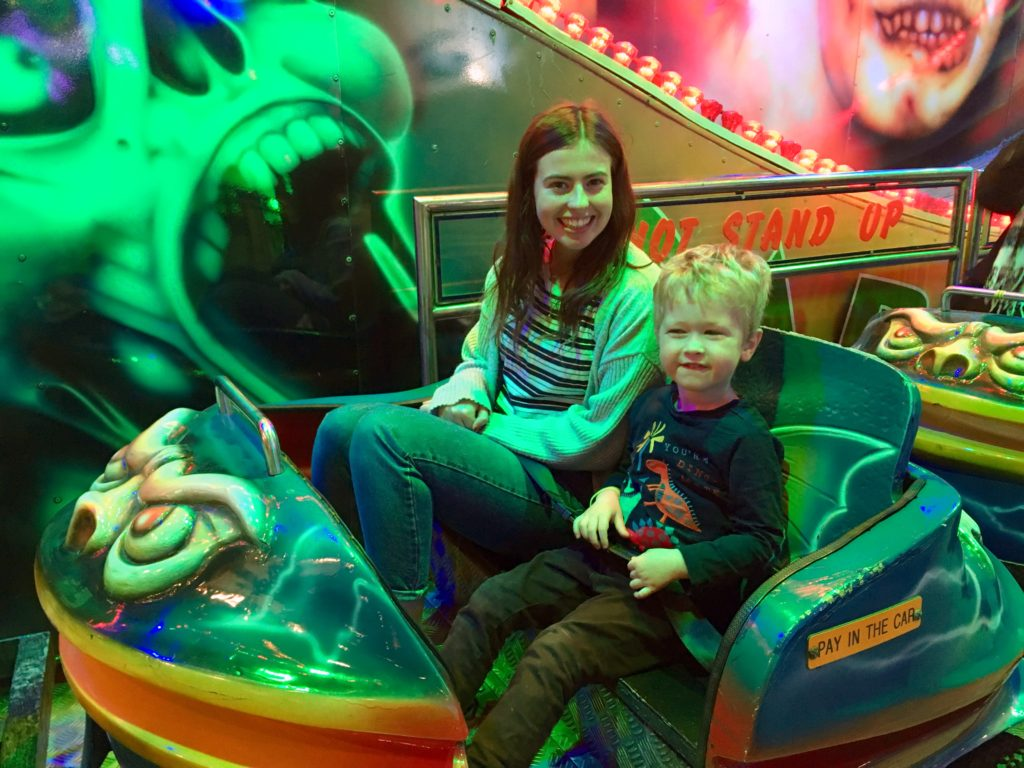 The indoor funfair, Liverpool review. My cousin and Lucas on the ghost train