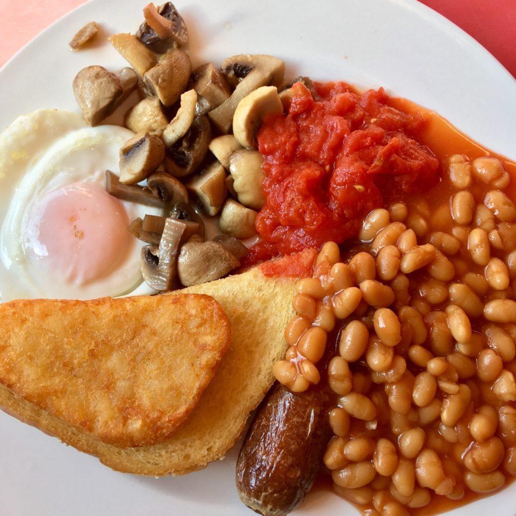 A day at Coral Island, Blackpool.cooked breakfast on a white plate