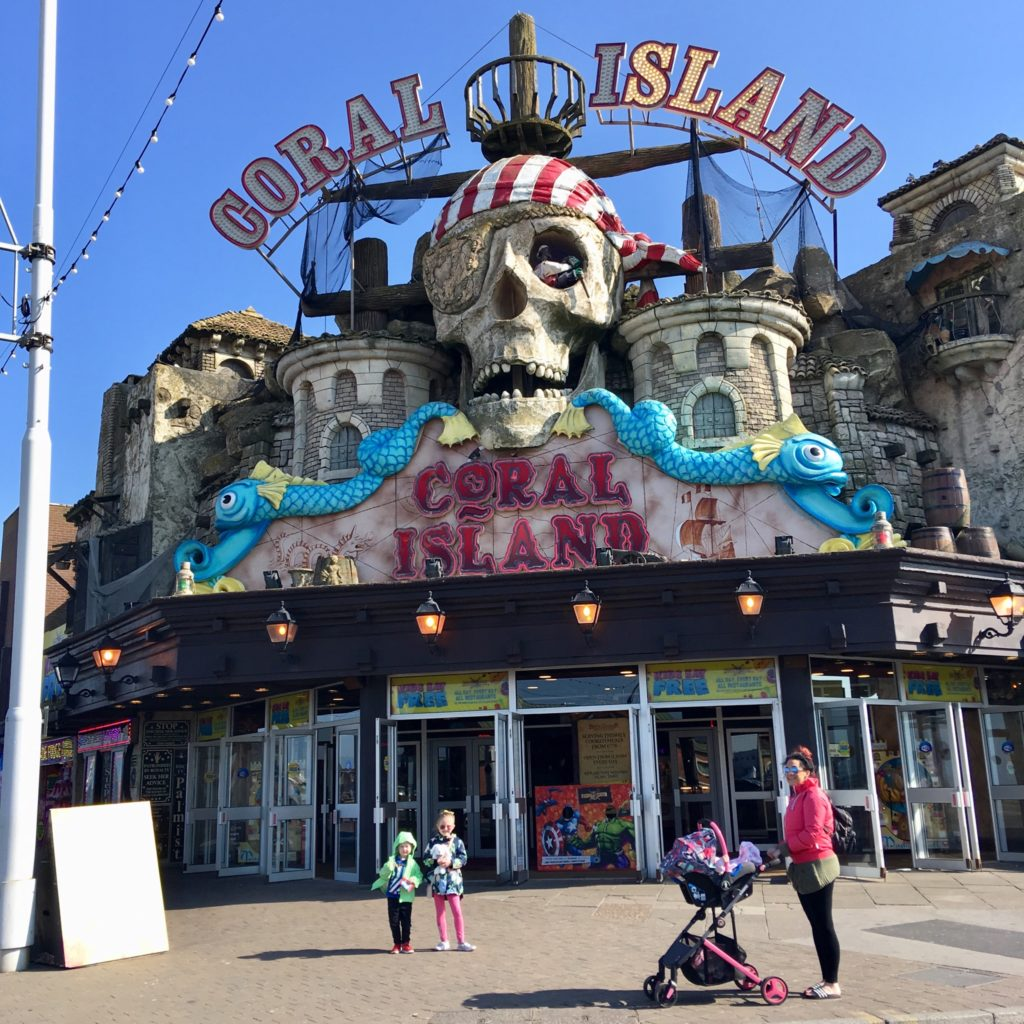 A day at Coral Island, Blackpool. Stroud outside where you can see the huge coral island pirate sign