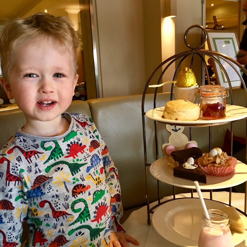 Cottons hotel and spa, Knutsford children's afternoon tea with Lucas smiling
