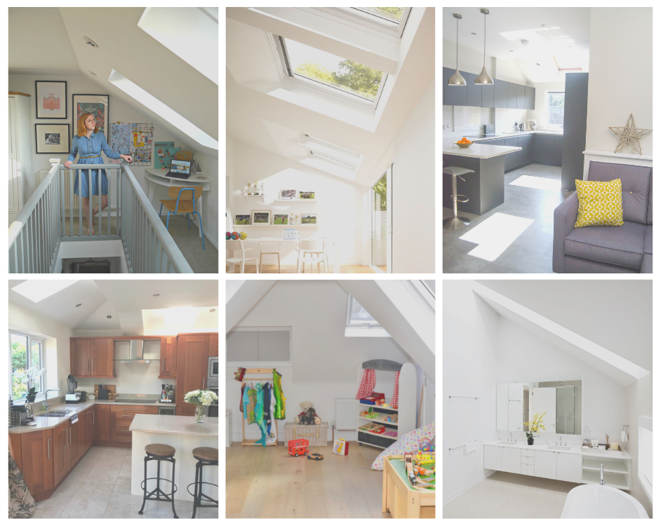 Brightening your home with VELUX roof windows. a collage of play rooms, roof extensuions and kitchens with velux roof windows