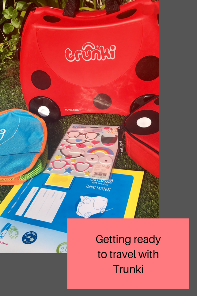 Getting ready to travel with Trunki ride on suitcase