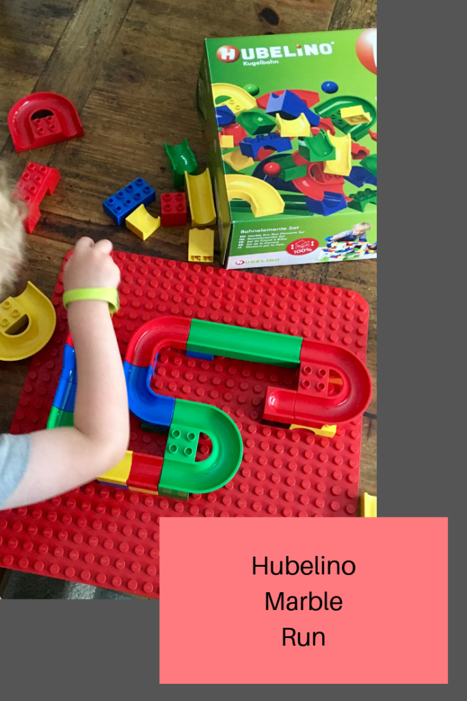 Hubelino marble run, the elements set is 55 pieces to use alongside popular building bricks
