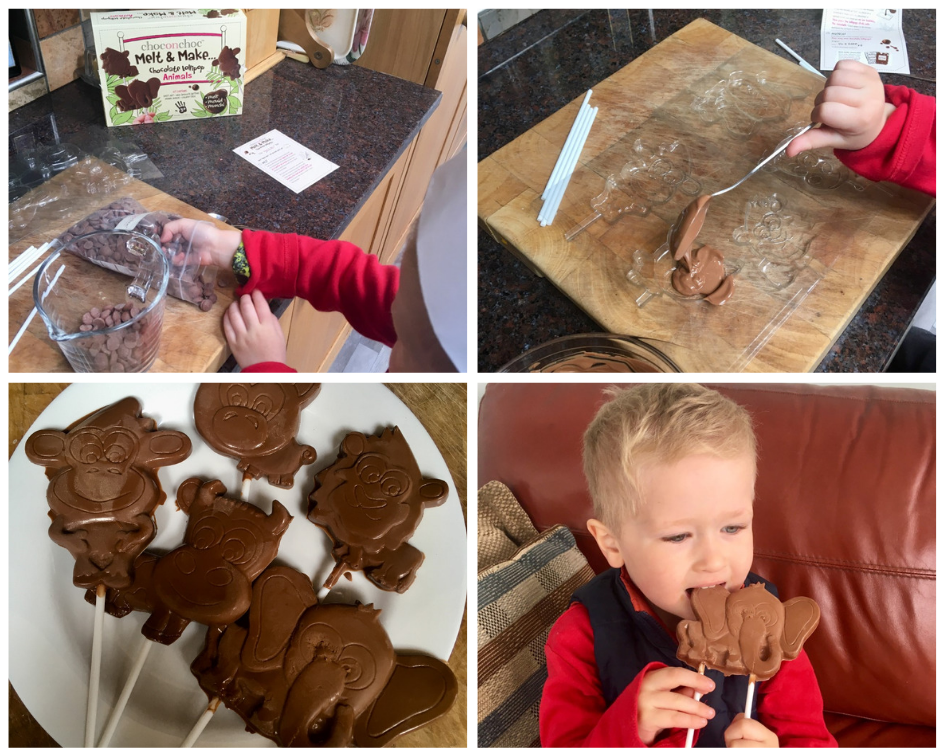 a collage of photos showing lucas porting choc buttons into a glass jug, pouring the melted choc in mould, the choc lollies finished and lucas eating an elephant shaped choc lolly
