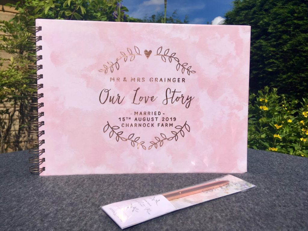 pink and rose gold wedding day memory book