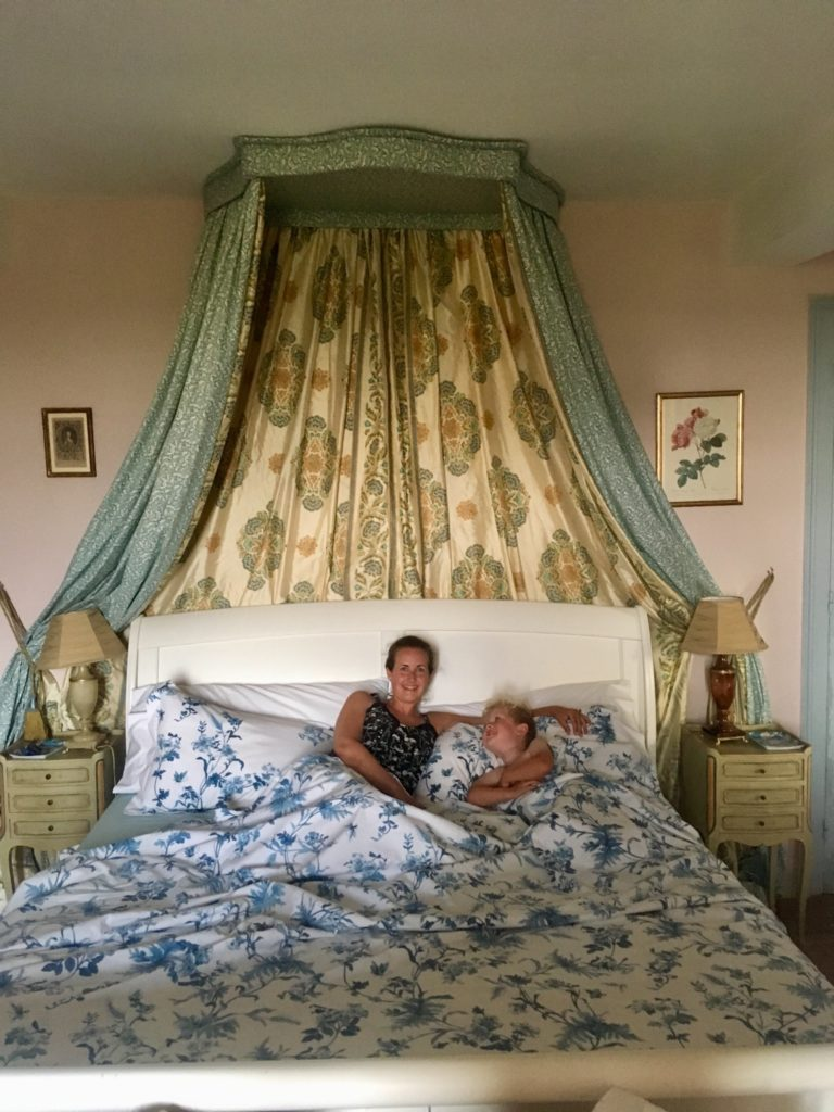 Lucas and I in a four poster bed