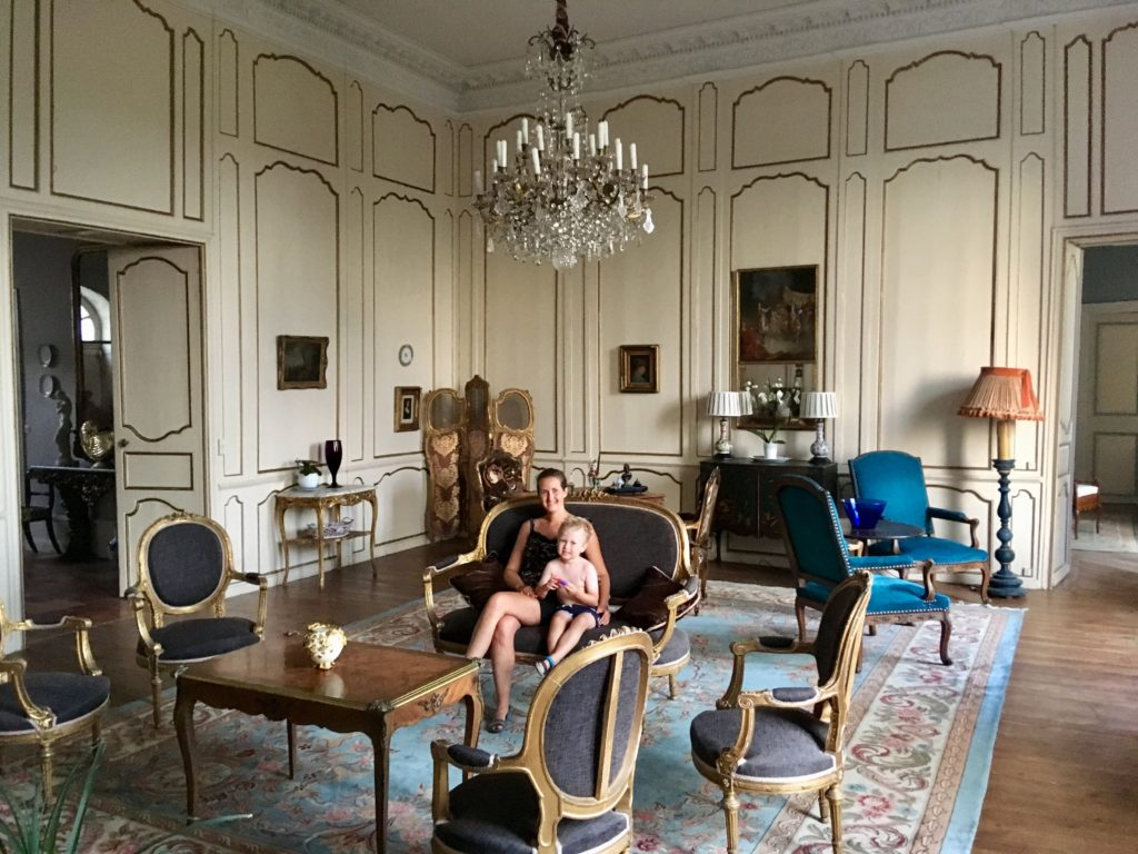 Lucas and I sat in one of the grand reception rooms