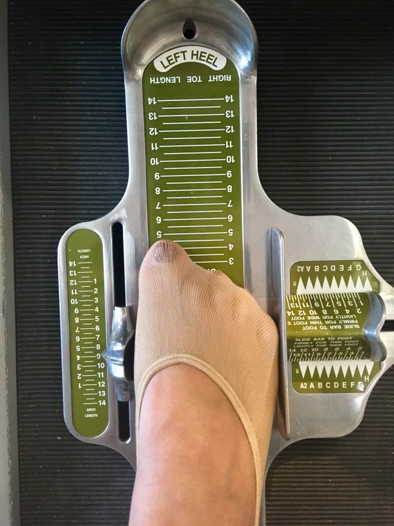 My foot being measured at the Hotter Fit Fortnight