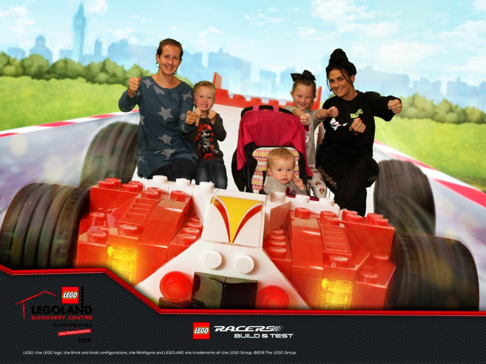 Us in the legoland photo with racing car background