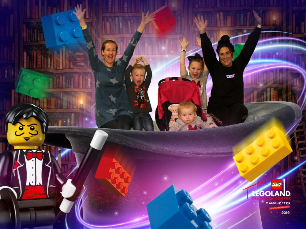 Is in a photo of a magician background at Legoland