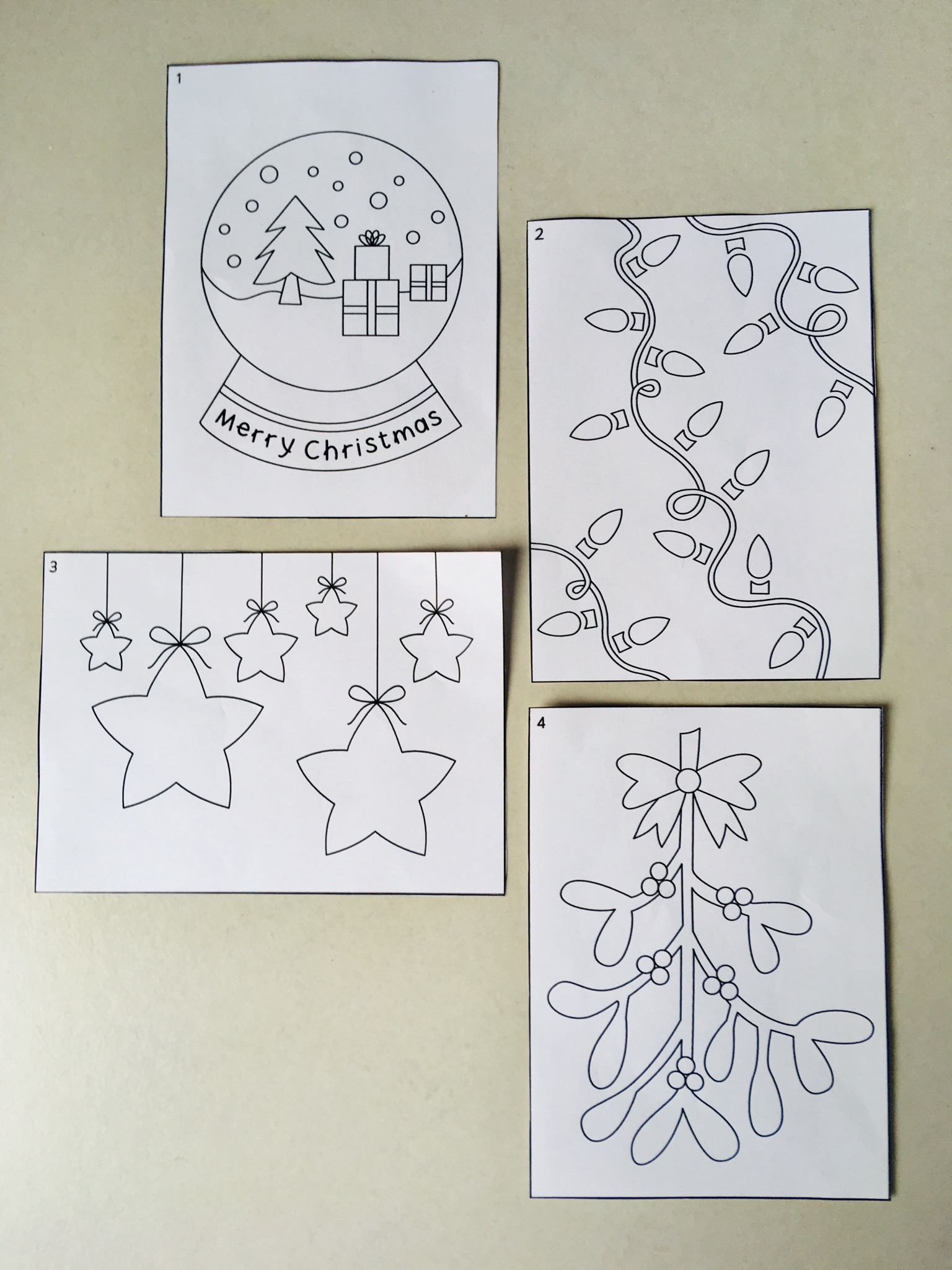4 smaller christmas pictures cut out