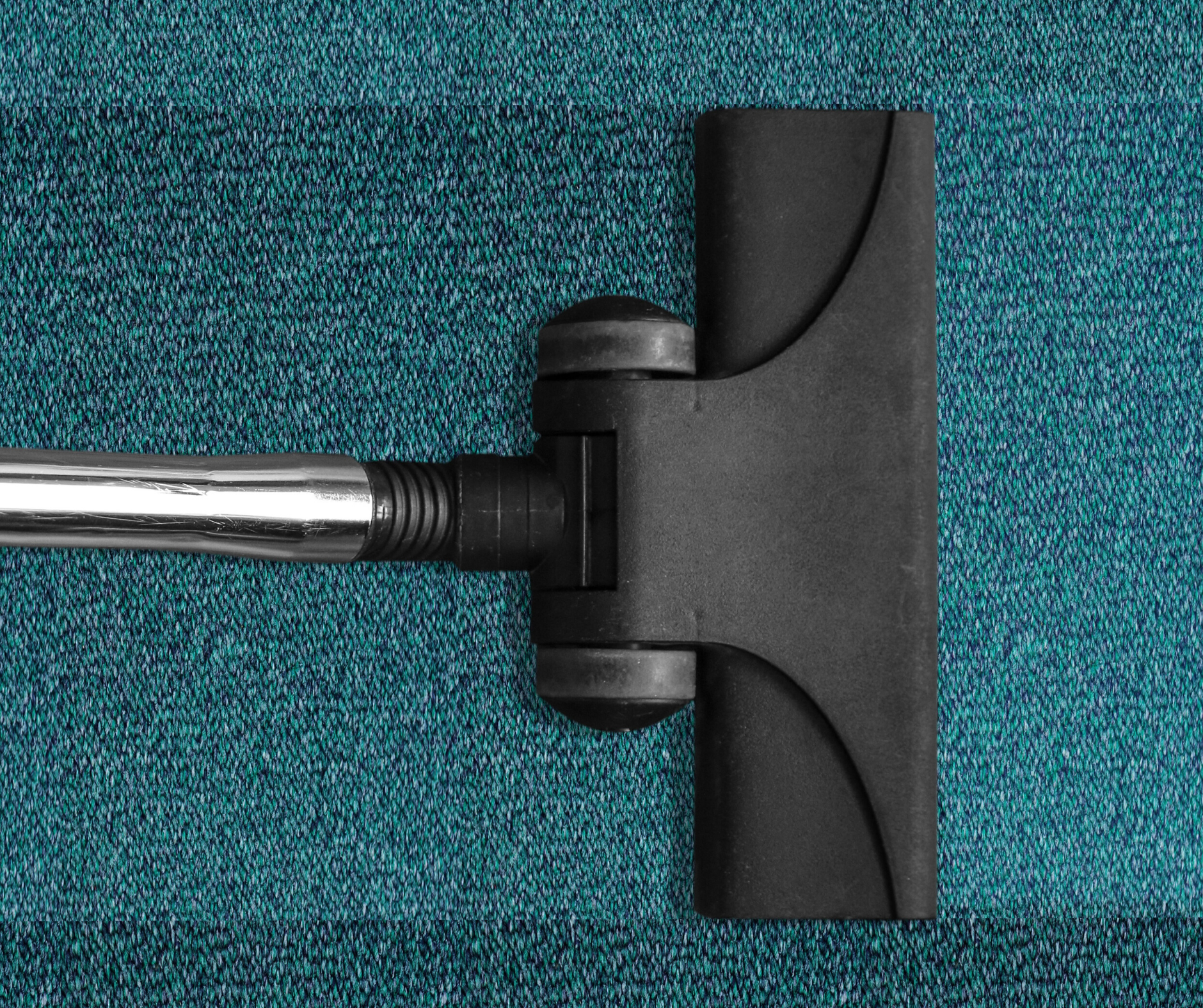 a hoover head on a teal carpet