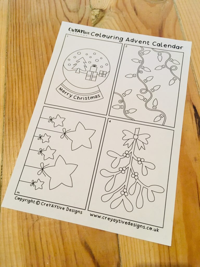 Colouring advent calendar with 4 pictures on 1 sheet