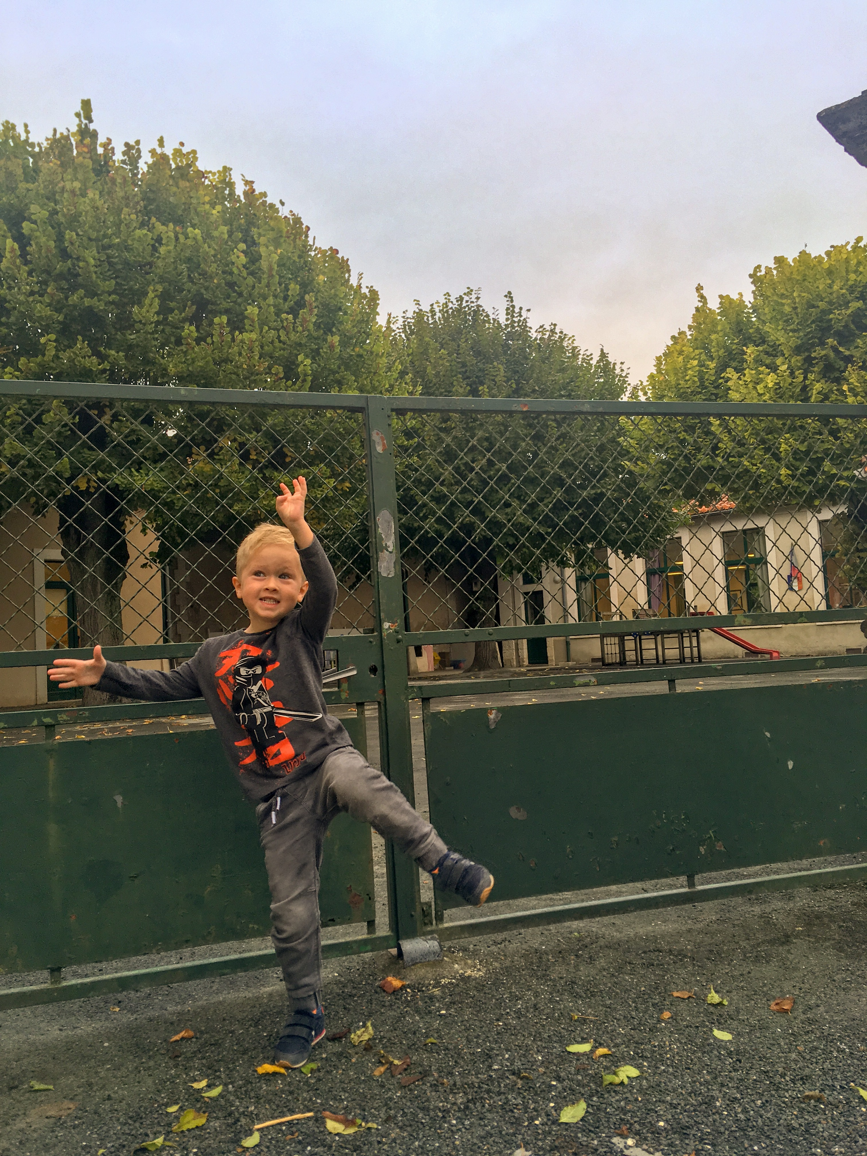 Lucas stood at the school gates