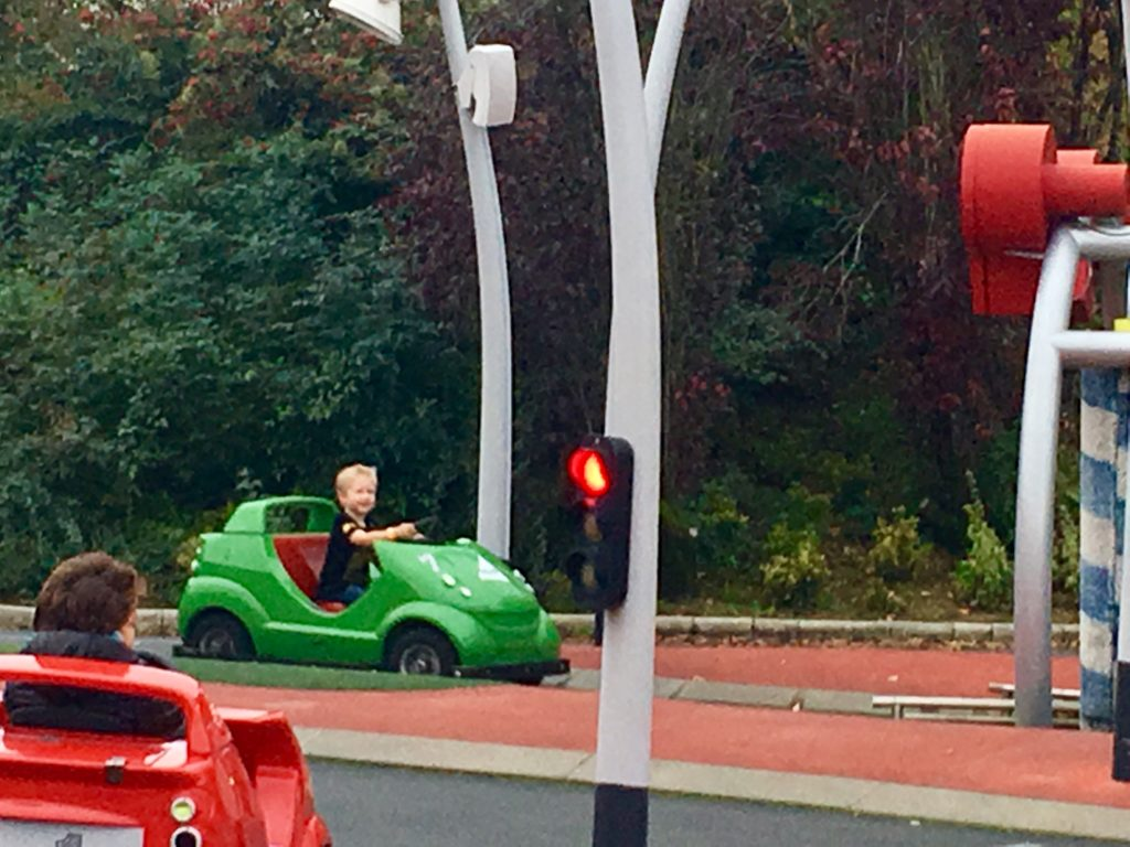 Futuroscope France review. Lucas is driving a green car