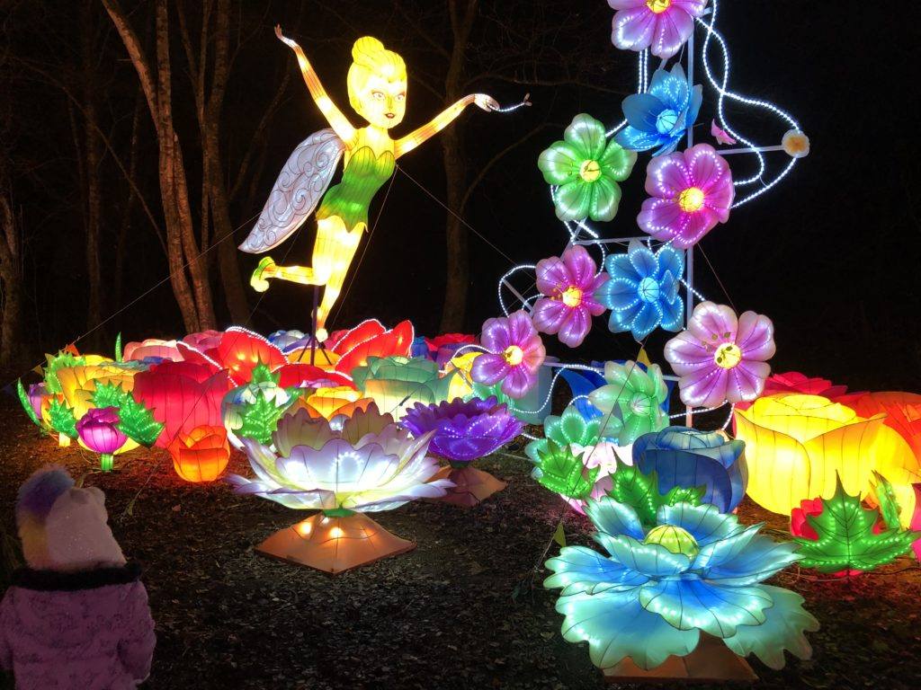 Tinker bell and flowers at lightopia manchester