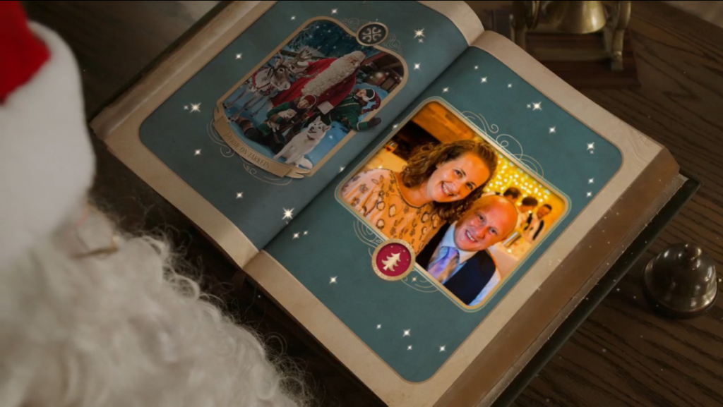 A photo of me and D in a Christmas book screenahot from the pnp video