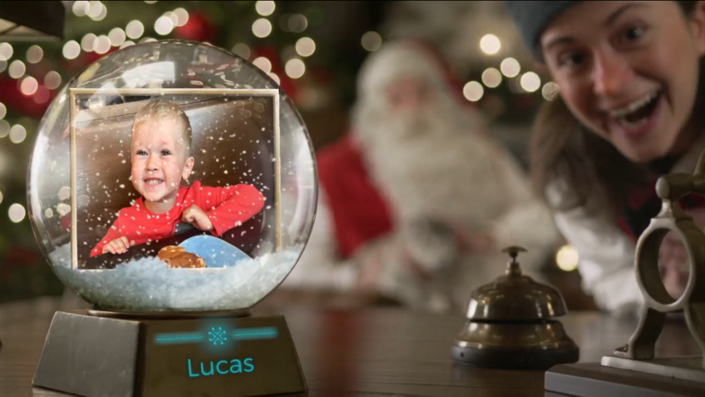 A screenshot of Lucas in a snow globe on one of the pnp videos