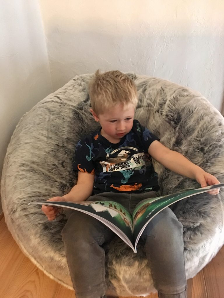 Lucas reading a book on the bean bag bazaar icon bean bag