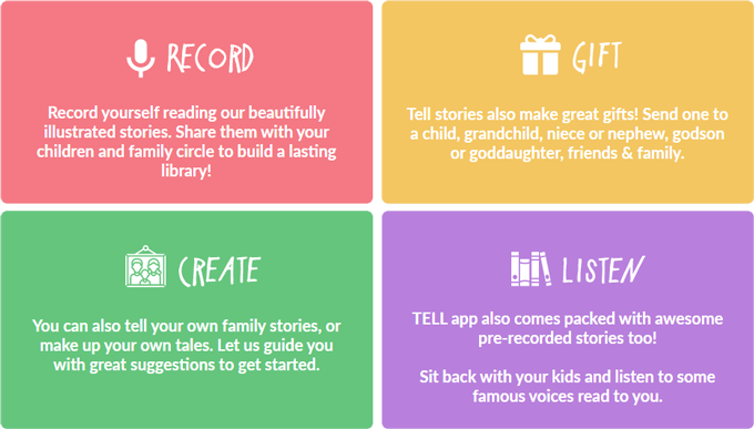 tell app, a story telling app for familie
