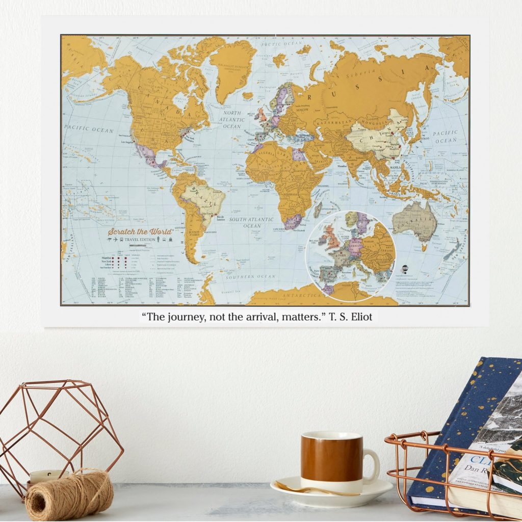 personalised scratch map of the world